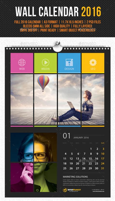 calendar poster template kickstart 2016 with a creative monthly calendar template