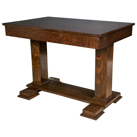 quarter table american quarter sawn oak trestle table at 1stdibs