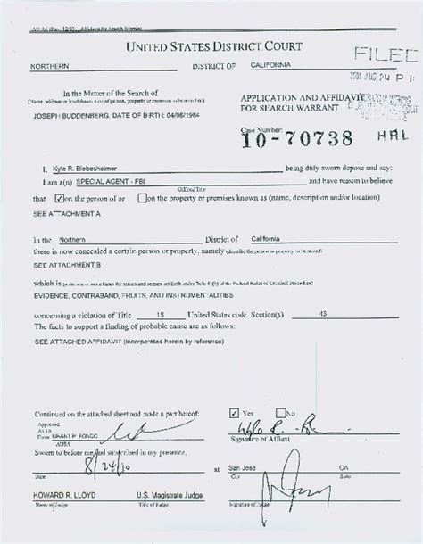 Exle Of Search Warrant Classic Affidavit Form Sle For Search Warrant With