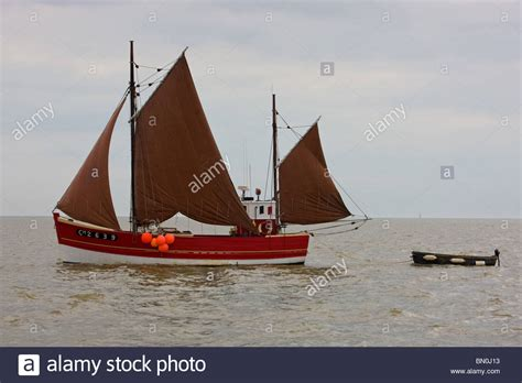 sailing boat in the sea a traditional sailing fishing boat in the north sea stock