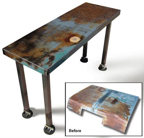 furniture recycling recycled metal furniture from scrap car hoods