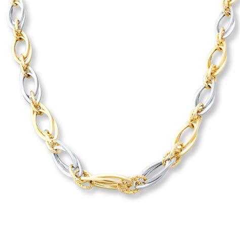 chain necklace 10k two tone gold