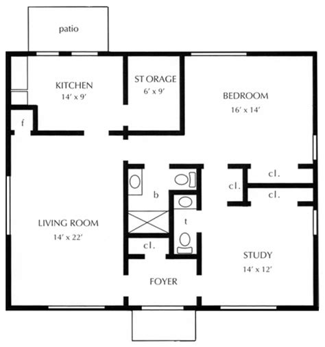 One Bedroom Cottage Floor Plans | 1 bedroom cottage plans 171 floor plans