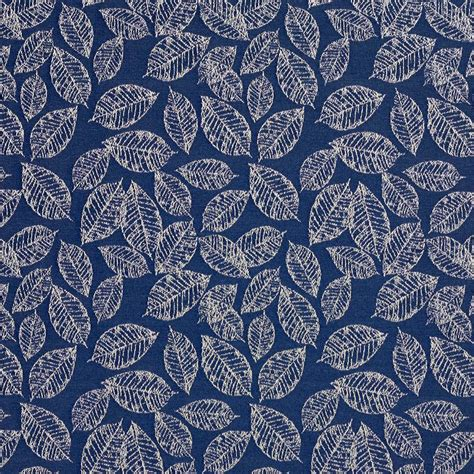 blue floral upholstery fabric navy blue floral leaf jacquard woven upholstery fabric by