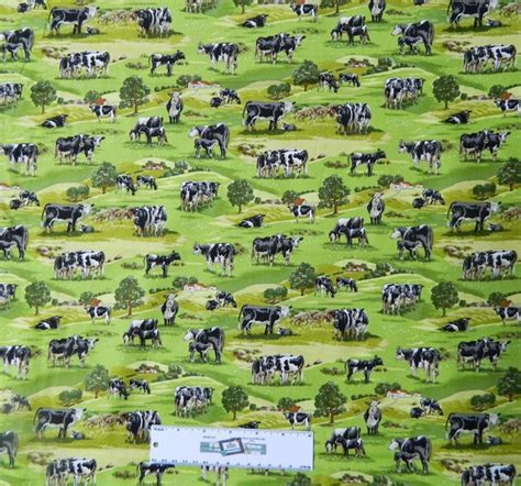 patchwork quilting fabric country farm cows sewing