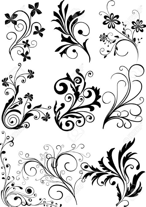 design elements for loading in vector from stock 25 eps floral scroll designs clip art 42
