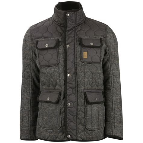 Crosshatch Quilted Jacket by Crosshatch S Fellows Quilted Tweed Jacket Grey Dd