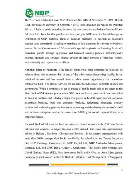 national bank of pakistan uk internship report national bank of pakistan