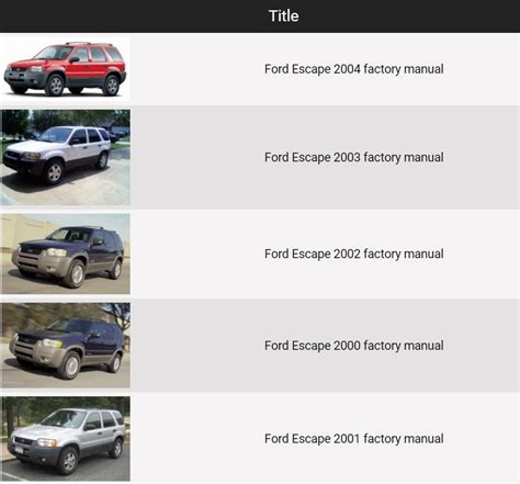service and repair manuals 2000 ford escape electronic toll collection ford escape 2000 2004 repair manual factory manual
