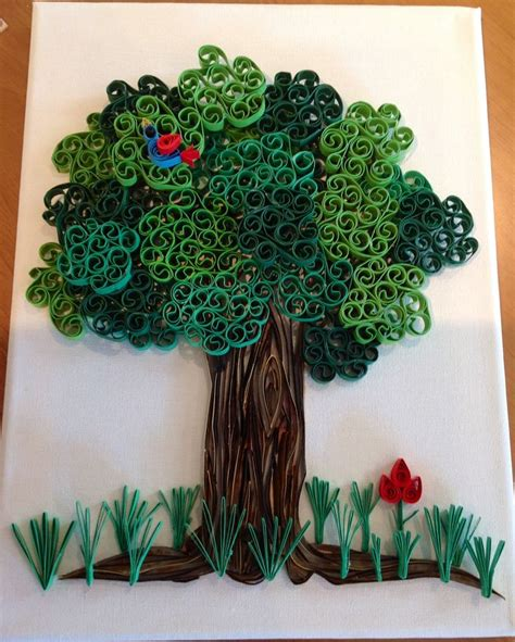 paper quilling tree tutorial quilling quilled tree grass flower and bird quilling