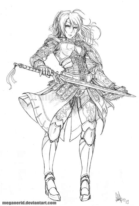 Female Warrior Fate Lineart By Meganerid Coloring Anime Warrior Coloring Pages