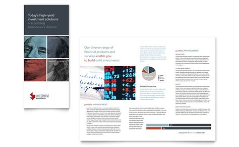 Investment Bank Tri Fold Brochure Template Word Publisher Free Bank Brochure Template