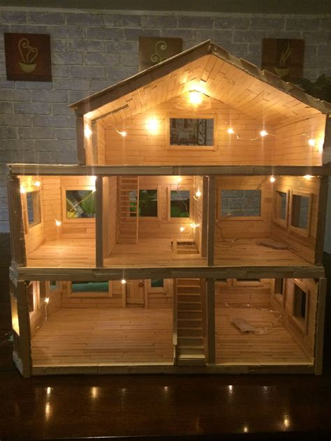 make home dollhouse made entirely from popsicle sticks dollhouse