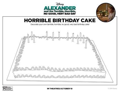 printable birthday activity sheets alexander and the terrible horrible no good very bad