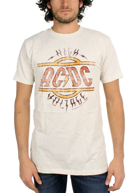 Ac Dc 43 T Shirt Size S ac dc mens high voltage fitted t shirt in vintage white