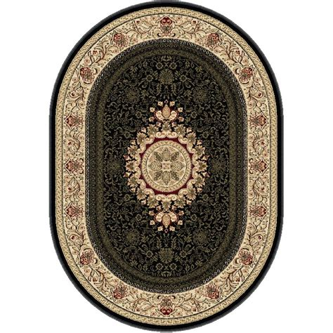 area rugs oval tayse rugs sensation black 6 ft 7 in x 9 ft 6 in traditional oval area rug 4673 black 7x10