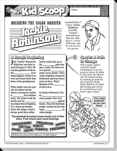 printable worksheets on jackie robinson pin by tiffany nobles on 2nd grade pinterest