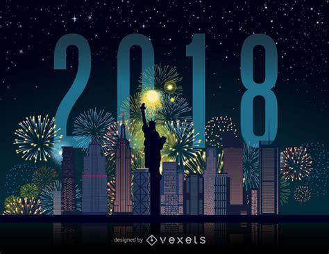 new year 2018 new york city 2018 new york city fireworks skyline vector