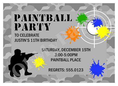 free invites templates paintball invitations by ohmypaperllc on etsy