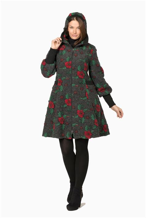 Handmade Coat - handmade woollen coat with floral pattern model