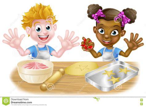 bimbe cucinano children bakers baking stock vector image 74040147