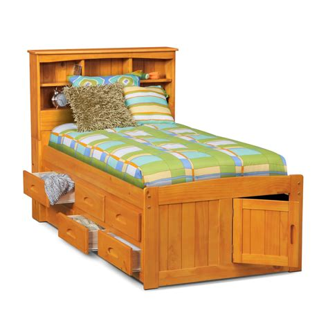 twin bed with drawers ranger twin bookcase bed with 6 underbed drawers pine