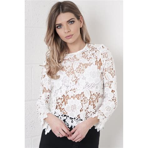 To Trendy White white lace crochet top crochet and knit