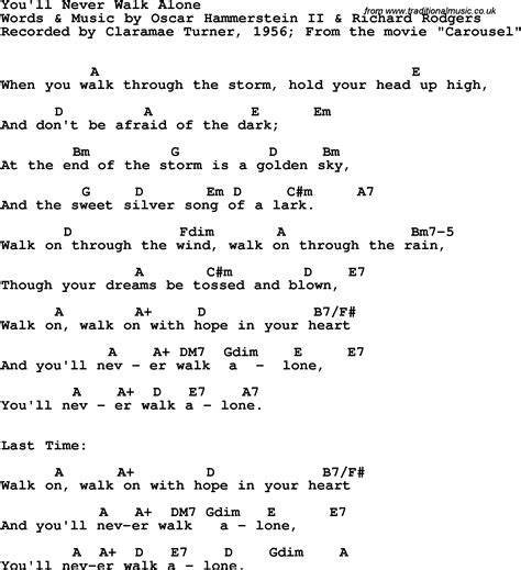 song lyrics with guitar chords for you ll never walk alone