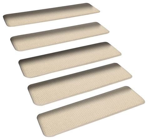 Set Of 15 Skid Resistant Carpet Stair Treads Ivory Cream Modern Stair Tread Rugs