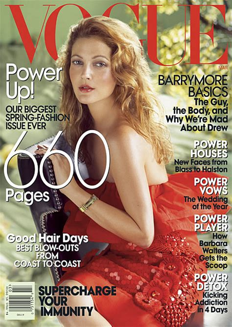 Drew Barrymore On March Cover Of by Drew Barrymore Vogue Magazine March 2008 Cover Photo