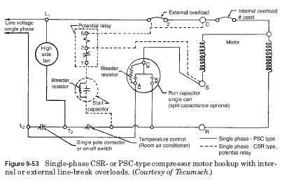 single phase wiring diagram goettl ac compressor phase
