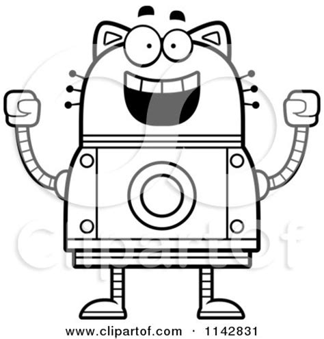 robot cat coloring page clipart waving robot cat royalty free vector