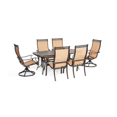 Agio Patio Dining Set Agio Somerset 7 Aluminum Rectangular Outdoor Dining Set With 2 Swivels And Cast Top Table