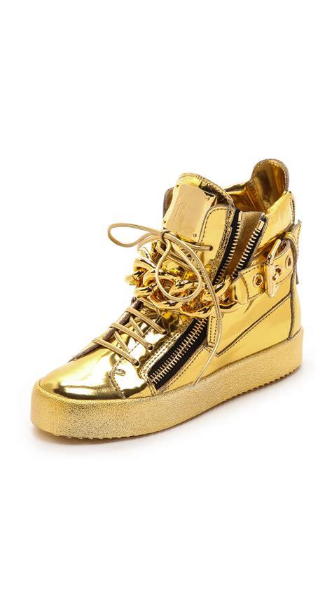 giuseppe sneakers giuseppe zanotti zip sneakers oro in gold oro