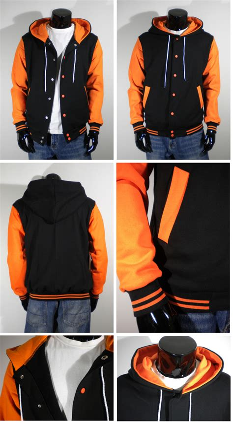 mens varsity letterman hoodie baseball jacket quality