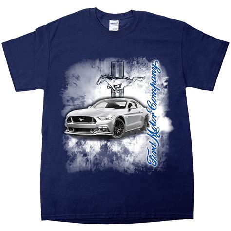 apparel t shirt sleeve navy blue ford mustang burnout