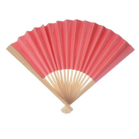 Folding Paper Fan - paper fan coral set of 10 16 00