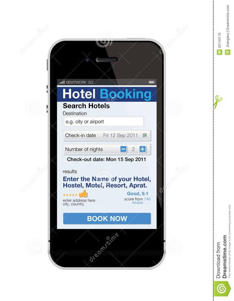 stock mobili mobile phone hotel booking stock vector image 20744175