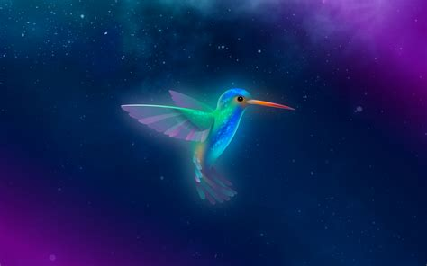 wallpaper bionic beaver bird starry sky purple blue