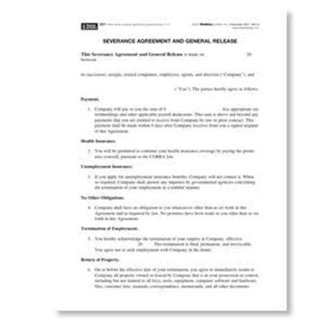 Connecticut Severance Agreement And General Release Form General Release Agreement Template