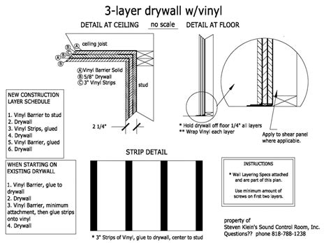3 layer drywall with vinyl barrier detail new or existing