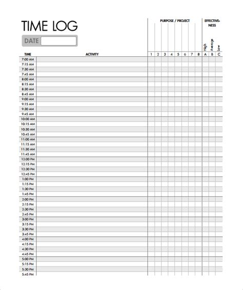 Time Log Sheet Template time log template 10 documents in pdf word