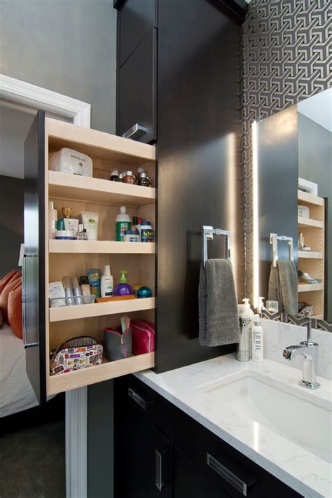 10 Design Moves From Tricked Out Bathrooms Bathroom Countertop Storage Cabinets