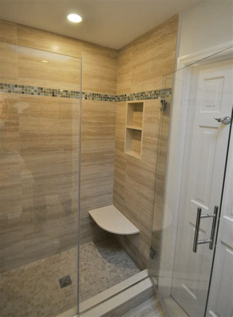 stand up on the bench stand up shower with built in bench seat and niche bathrooms pinterest bench