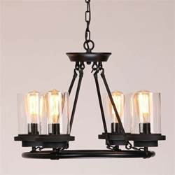 Wrought Iron Pendant Light Industrial Clear White Glass Shade Wrought Iron Black Frame Chandelier Pendant Light