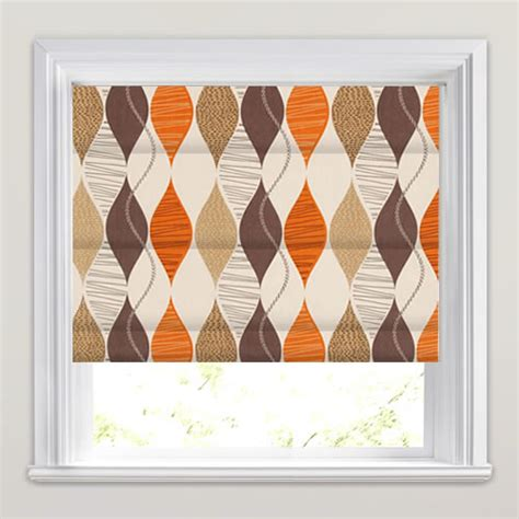 retro patterned roller blind retro roman blinds brown beige orange contemporary
