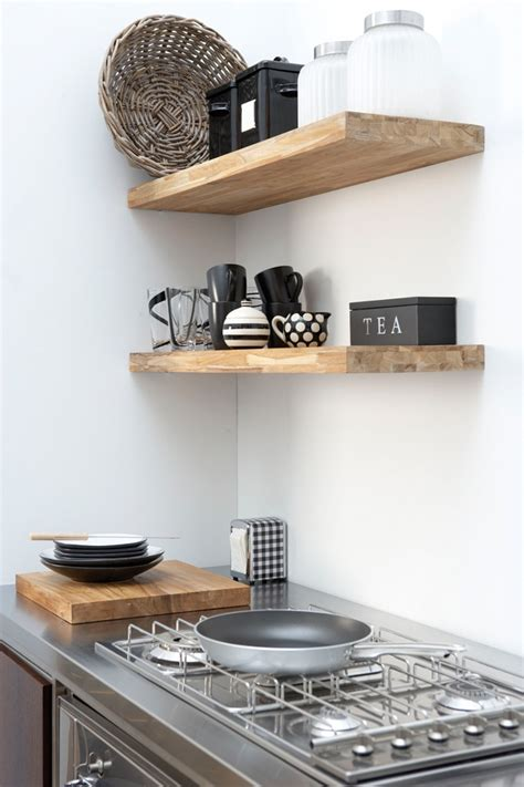 open shelves kitchen design ideas for the simple person diy idea floating wood butcher block shelving diy