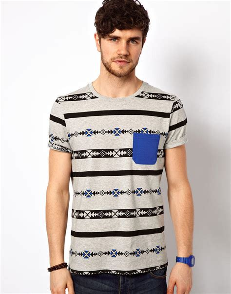 aztec pattern t shirt asos stripe t shirt with aztec pattern from asos tees and