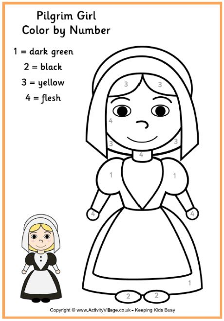 coloring page pilgrim girl pilgrim girl colour by number thanksgiving colouring