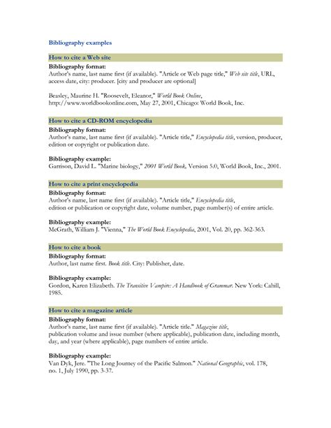 template for bibliography best photos of sle bibliography for websites